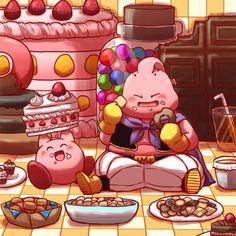 Kirby and Buu enjoying some desserts