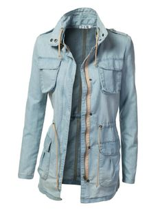 Amazon.com: 9XIS Womens Military Anorak Jacket With Pockets: Clothing