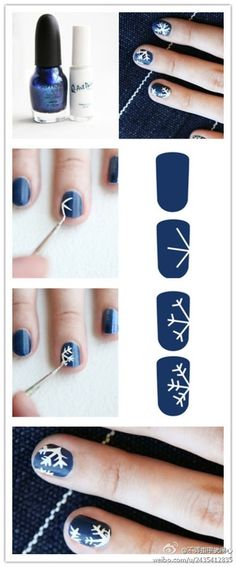I love snowflakes DIY Snow Flake Nails nails diy craft nail art nail trends diy nails diy nail art easy craft diy nail tutorial easy craft ideas Nail Art Diy, Diy Nails, Cute Nails, Pretty Nails, Holiday Nail Designs, Holiday Nail Art, Diy Christmas Nails Easy, Simple Christmas, Do It Yourself Nails