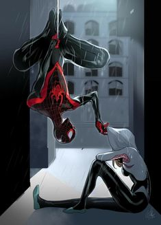 Miles and Gwen Spider-Gwen Miles Morales Spiderman Kunst, Spiderman Spider, Amazing Spiderman, Spiderman Gwen Stacy, Spider Man Comic, Spiderman Anime, Marvel Art, Marvel Dc Comics, Marvel Heroes