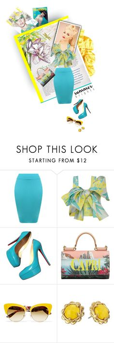 """Summer bright-Yellow and Turquoise"" by fernshadowstudio-com ❤ liked on Polyvore featuring WearAll, PatBo, Christian Louboutin, Dolce&Gabbana and Kate Spade"