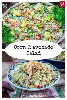 This corn & avocado summer salad is the perfect cookout side dish. Full of bright colors and delicious fresh ingredients. Make this for your next cookout and watch it disappear. #summercookoutideas #cornandavocadosalad #healthysidedishes #avocadorecipe Cookout Side Dishes, Healthy Side Dishes, Side Dish Recipes, Avocado Recipes, Healthy Salad Recipes, Corn Avocado Salad, Summer Salads, Grilling Recipes, Summer Recipes