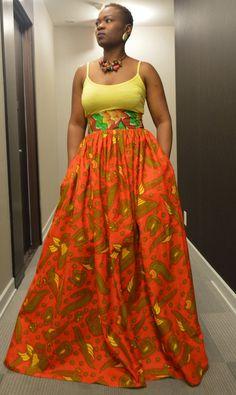 African wax print summer maxi skirt 100 cotton Dutch by Rahyma, $85.00