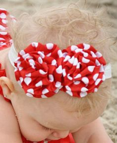 Red White Dot Rosette Headband- Perfect for Christmas! sparkleinpink.com