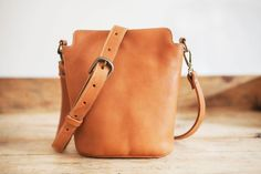 Cowhide Leather Handbag // Small Leather bag // Brown by KURTIK