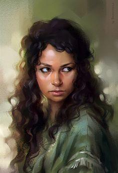 """Jessica Parker Kennedy"" (study) - Elena Berezina (sharandula) {contemporary figurative artist beautiful female head brunette woman face portrait digital painting}"