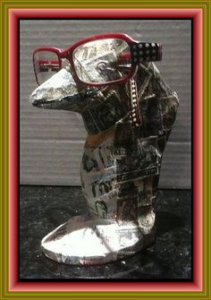 Penguin wearing Glasses -- Decoupage on Wood using postage stamps including stamps of penguins on the front -- stampcoupage