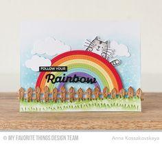 I Knead You, Rainbow of Happiness, Wood Plank Background, Color the Rainbow Die-namics, Farm Fence Die-namics, Grassy Hills Die-namics, I Knead You Die-namics, Puffy Clouds Die-namics, Stitched Rainbow Die-namics - Anna Kossakovskaya #mftstamps