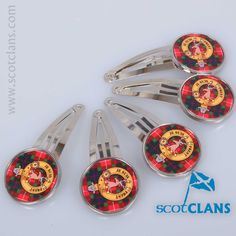 Fraser Clan Crest & Tartan Hair Clips Free Worldwide Shipping Available
