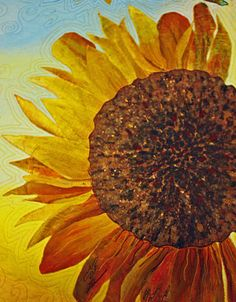 Took a fun quiz on quizology.com and Mr. Is a sunflower -  he loves this little wall hanging, too. Hint - hint. ;) *Art quilt - love it!
