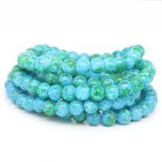 20 Aqua Green Glass Beads Marbled Tie Dye by OverstockBeadSupply, $1.75