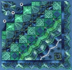 """Blue Bayou6"""" x 6""""  This is the third in the Ebb Tide series. Stitched with numerous shades of jades and blues, and touches of metallic. Pri..."""