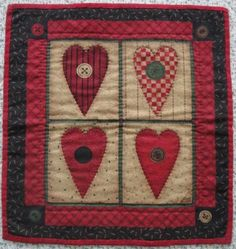 Primitive Folk Heart Miniature Quilt Debbie Mumm Fabric