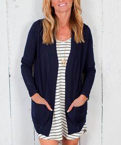 Loving this Navy Open Cardigan - Plus on #zulily! #zulilyfinds