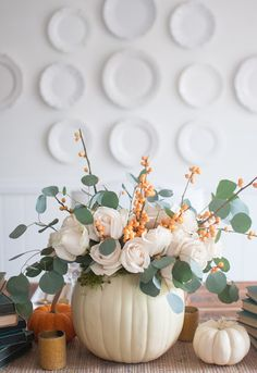 Gorgeous and simple fall centerpiece with white pumpkins, roses, bittersweet and eucalyptus - Gwen Moss. White Pumpkin Centerpieces, Fall Wedding Centerpieces, Centerpiece Decorations, White Pumpkin Decor, White Pumpkins Wedding, Fall Pumpkin Wedding, Pumpkin Table Decorations, Table Centerpieces, Wedding Table