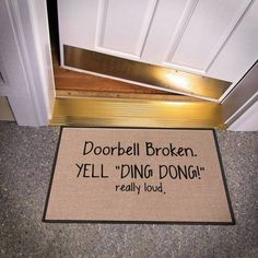 These funny doormats will enhance your entryway design with laughter. If you're looking for a housewarming gift, these mats are a great place to begin. Eiko Ojala, Lohals, Front Door Rugs, Front Porch, Best Puns, Entry Way Design, Funny Doormats, Game Room Decor, Ding Dong