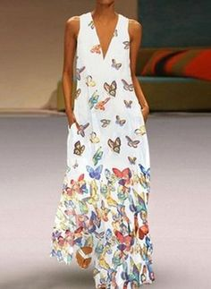 Vintage Sleeveless Butterfly Print Dress Women 2019 Summer Pockets Boho Beach Maxi Dress Casual Loose V Neck Dress Femme Cheap Maxi Dresses, Dresses For Sale, Casual Dresses, Summer Dresses, Dresses Online, Vacation Dresses, Chiffon Dresses, Holiday Dresses, Modest Dresses