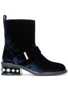 NICHOLAS KIRKWOOD | Blue Velvet Casati Pearl Biker boots #Shoes #NICHOLAS KIRKWOOD