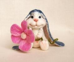Needle Felted wool long ear Bunny Rabbit needle by FluffyFuzzy