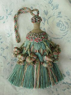 """tassel"" きれいなブルーのタッセル Diy And Crafts, Arts And Crafts, Tassel Curtains, Diy Tassel, Passementerie, Fabulous Fabrics, Ribbon Embroidery, Needlework, Embellishments"