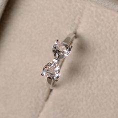 Morganite ring, heart cut gemsotne, double stone, promise ring, sterling silver