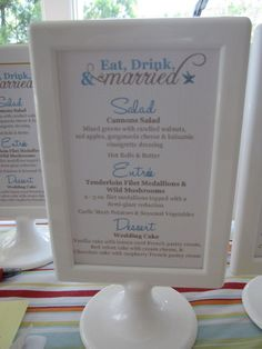 Amanda Carlisi - Great Idea! That way you don't have to have a menu for each person.