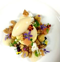 Vanilla Bean Custard, Poached Pear, Honey Cream, Ginger Streusel, Pear Sorbet, Pear Foam, Walnut Candied | Flickr - Photo Sharing!