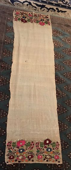 Antique Ottoman Hand Embroidered Metallic BRIGHT Color Turkish Towel