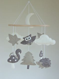 Woodland Baby Mobile Forest Animal Owl Baby by ClooneyCrafts