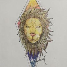 #lion #night #sunshine #star #illustration #color #ink #tattoo #EstebanPublicist