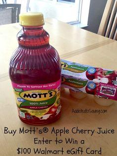 Enter to Win a $100 Walmart Gift Card With Mott's® Apple Cherry Juice #ad #MottsMoments http://www.addictedtosaving.com/?p=169326