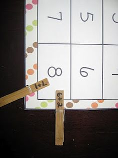 Practice math facts - can do addition facts on one side of clothespin, subtraction on other