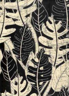 Tropical Hawaiian leafy screen-printed batik
