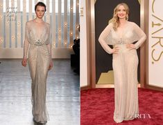 Julie Delpy In Jenny Packham at Oscars 2014 : 1930s inspired nude sparkle gown d