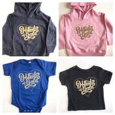 "$18 - $25 ""Heart of Gold"" onesies, tees, sweaters"