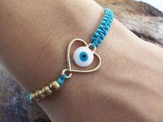 Enamel gold heart bracelet - beaded bracelet, daughter bracelet, heart jewelry, cord bracelet!!