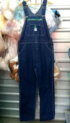150e23d30e80d Liberty Bib Overalls USA Button Fly Blue Denim Actual 38 x 34 Vintage Mens # Liberty