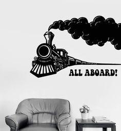 Vinyl Wall Decal Train Locomotive Railway Children's Room Stickers Unique Gift 45 in X 68 in / White Room Stickers, Vinyl Wall Stickers, Train Bedroom, Custom Wall, Locomotive, Kids Room, At Least, Unique, Gift