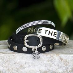 "Feel inspired when you wear this brand new poolside! This set includes: .5"" silver Rustic Cuff cut out quote ""Embrace the Journey""; Black Leather Double Wrap wi"