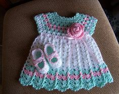 Excited to share this item from my shop: Preemie to Newborn hand crocheted Baby Dress and matching Shoes*Mary Jane Shoes*Pink Rose and Pink Ribbon Crochet Baby Dress Free Pattern, Crochet Hood, Knit Baby Dress, Baby Dress Patterns, Baby Girl Crochet, Crochet Baby Clothes, Newborn Crochet, Crochet Patterns, Robes Tutu