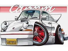 One of the most sought after Porsche is the lightweight Carrera. Porsche 356, Porsche Carrera, Porsche Cars, Bmw Cars, Cartoon Styles, Cartoon Art, Cars Cartoon, Ferdinand Porsche, Vintage Racing