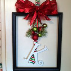 Frame wreath for my secret pal at work...Thanks to my Mom for being awesome and helping me!
