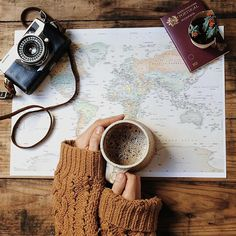 книга, кофе, напитки, карта