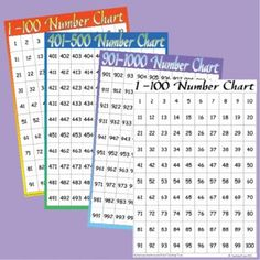 Practice counting to 1000 with this FREE set of number charts. Color and black and white charts included