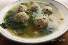Escarole Soup with Turkey Meatballs (Italian Wedding Soup) - it's the marriage of greens and meat in the soup. #healthy