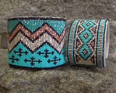 Destination/Cross and Indian Blanket Cuffs by Kathleen Brannon of Desert Sage Bead Art