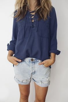 front lace up shirt / navy from ascot hart