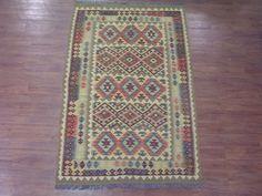 Chobi 5X8 Kilim Afghan Vegetable Dye Hand-Knotted Oriental Area Rug 100% Wool #TraditionalPersianOriental