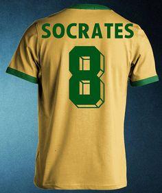 Socrates 8 Retro Brazil Brasil Camiseta Remera by FootballRetro
