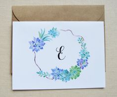 Personalized monogram succulent wreath greeting cards. Perfect for writing your pen pal or send a set as a gift! **Please specify which letter